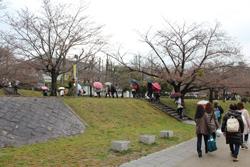 階段をのぼると、もうすぐ岡崎公園が見えてきます。